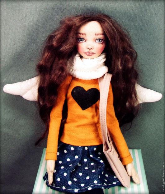 Коллекционные куклы ручной работы. Ярмарка Мастеров - ручная работа. Купить Авторская текстильная кукла. Handmade. Оранжевый, интерьерная кукла
