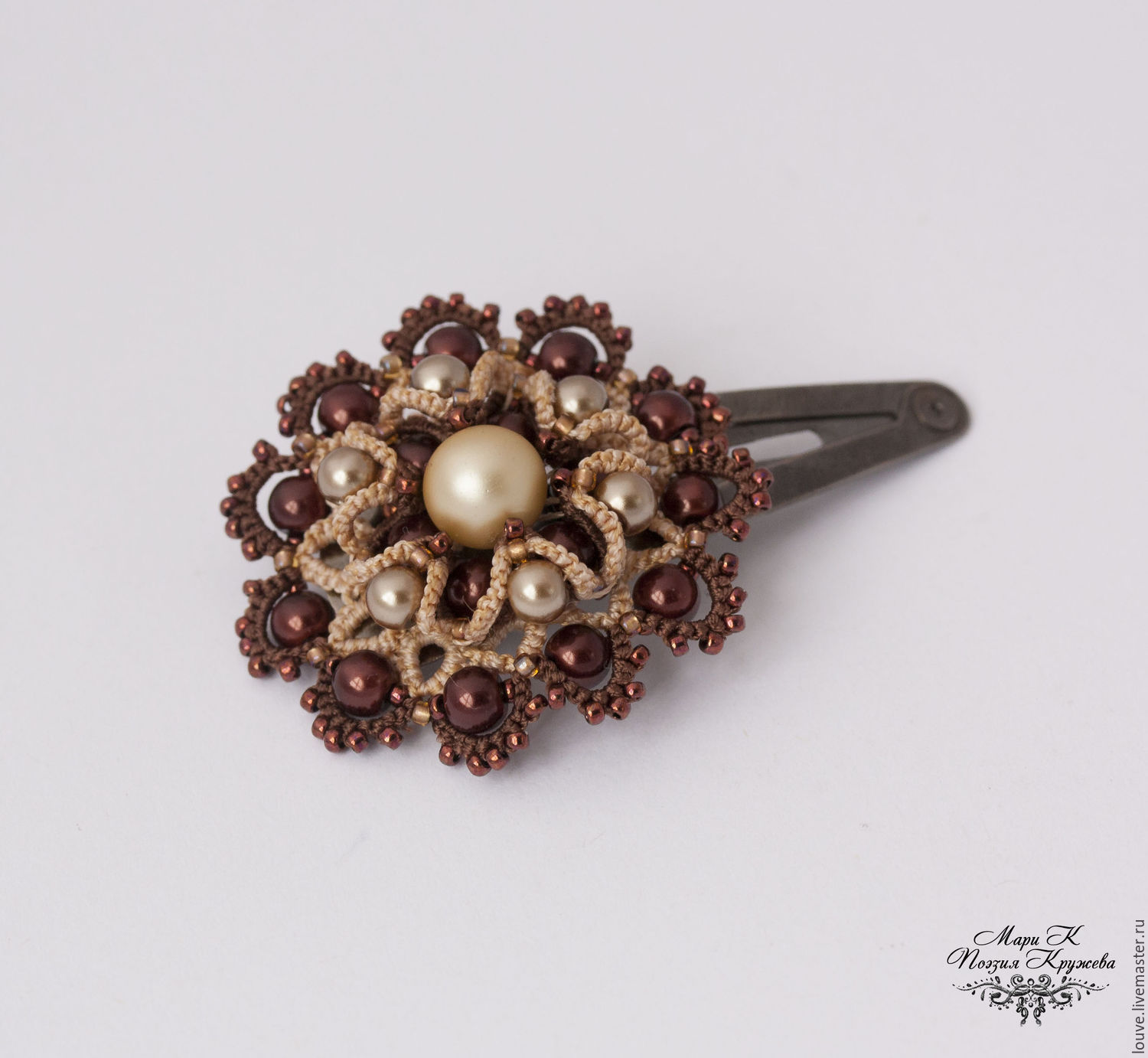 Brooch hairpin e tatting, lace brooch, Brooches, Novosibirsk,  Фото №1