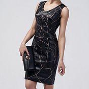 Платье-футляр из ЭКО-кожи. Кожаное платье