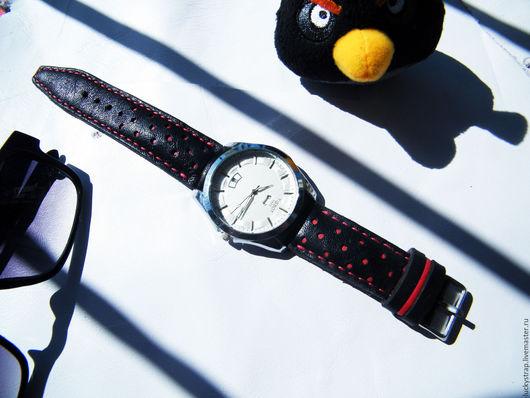 """Часы ручной работы. Ярмарка Мастеров - ручная работа. Купить Ремешок для часов в стиле """"RALLY"""". Handmade. Черный"""