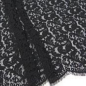 Ткани ручной работы. Ярмарка Мастеров - ручная работа ткань кружевное полотно  корд  черное с фестонами, 150 см Х150 см. Handmade.