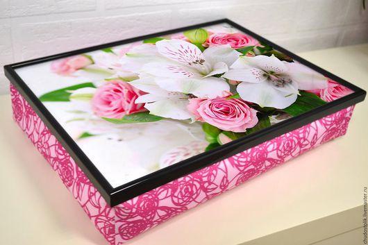 Мебель ручной работы. Ярмарка Мастеров - ручная работа. Купить Цветочный столик-поднос на розовой или белой подушке. Handmade.