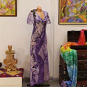 """Одежда ручной работы. Ярмарка Мастеров - ручная работа Авторское платье """"Загадочный violet"""" - нуновойлок и батик. Handmade."""