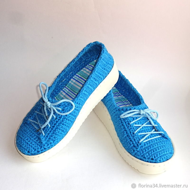 Sneakers: Knitted sneakers, p. 37-38, blue linen, Training shoes, Tomsk,  Фото №1