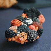 """Украшения ручной работы. Ярмарка Мастеров - ручная работа брошь """"Черно-оранжевая"""" с черным агатом. Handmade."""