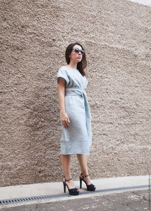 """Платья ручной работы. Ярмарка Мастеров - ручная работа. Купить Платье """"Японское"""" с поясом ОБИ, голубое, 100%лён. Handmade. Голубой"""