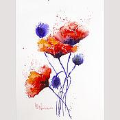 Картины и панно handmade. Livemaster - original item Painting of Maki in watercolour. Handmade.