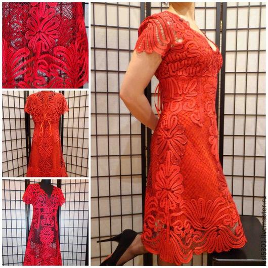 """Платья ручной работы. Ярмарка Мастеров - ручная работа. Купить Платье """"Гладиолус"""". Handmade. Кружево, вязаное платье, красный цвет"""