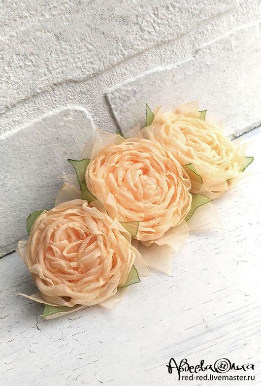 цветы из ткани чайные розы заколка для волос