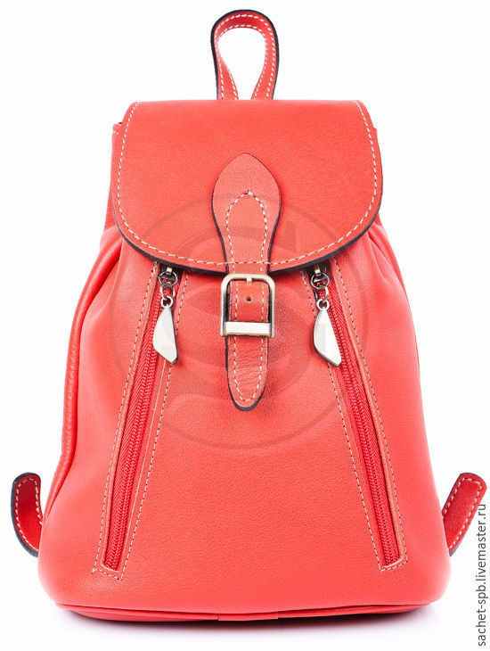 Small backpack leather jolie red, Backpacks, St. Petersburg,  Фото №1