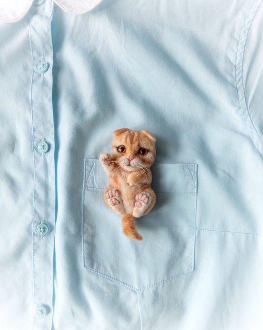 """Броши ручной работы. Ярмарка Мастеров - ручная работа. Купить Брошь """"котенок"""". Handmade. Авторские украшения, подарок, котенок из шерсти"""