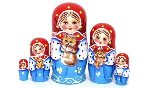 Матрёшка Юля с котиком 14см 5 мест, Матрешки, Шатура,  Фото №1