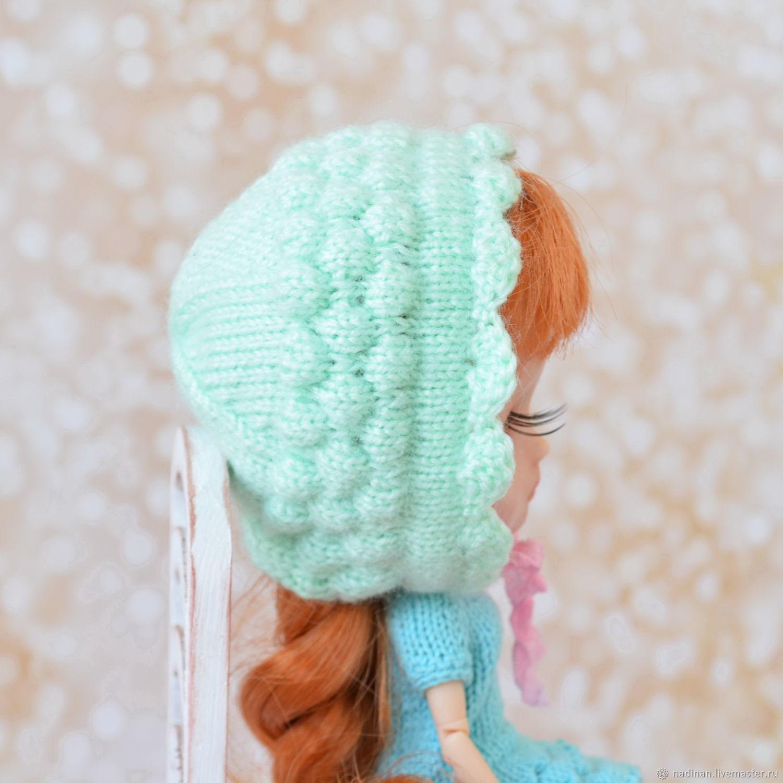 Вязаная шапочка чепчик для куклы Блайз миди, Одежда для кукол, Москва,  Фото №1