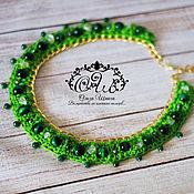 "Украшения handmade. Livemaster - original item Knitted necklace with natural stones ""Green"". Handmade."