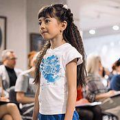 Работы для детей, ручной работы. Ярмарка Мастеров - ручная работа Комплект для девочки бриджи и футболка Океан2. Handmade.