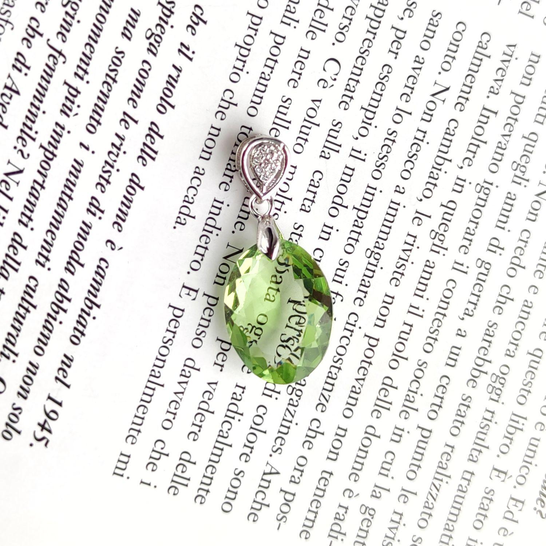 Подвеска зелёный аметист празиолит огранка родирование, Подвеска, Москва,  Фото №1