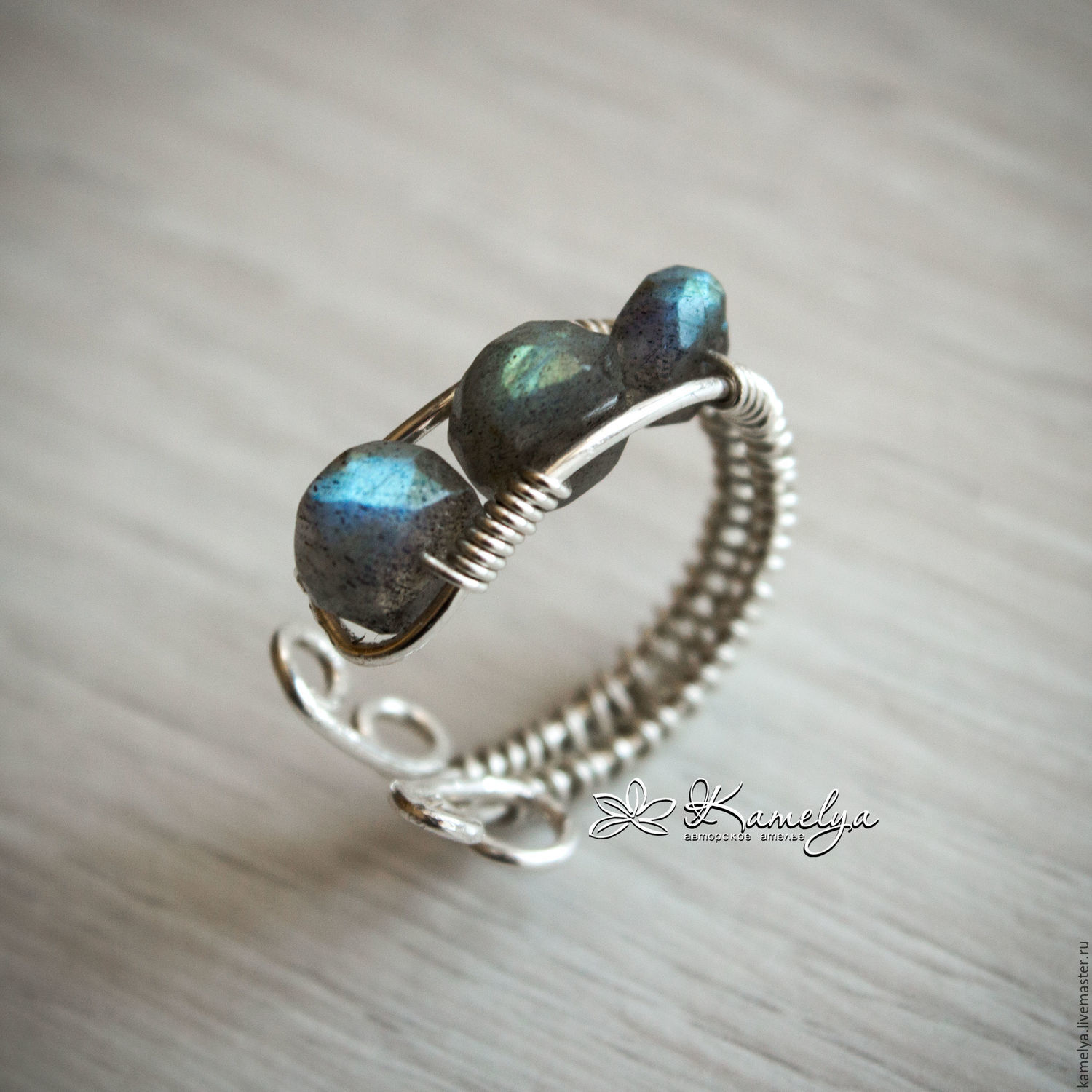 Silver Ring With Labradorite Moonrise 925 Pr Wire Wrap Shop Sterling Wrapped Necklace Blue Tiger Eye