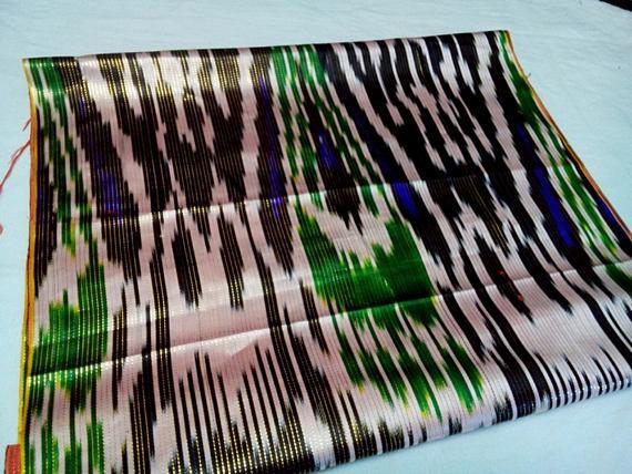 Шитье ручной работы. Ярмарка Мастеров - ручная работа. Купить Узбекский винтажный шелковый икат Хан атлас 2,85 метра. VI010. Handmade.