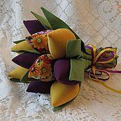 Цветы ручной работы. Ярмарка Мастеров - ручная работа Букет тюльпанов текстильный. Handmade.
