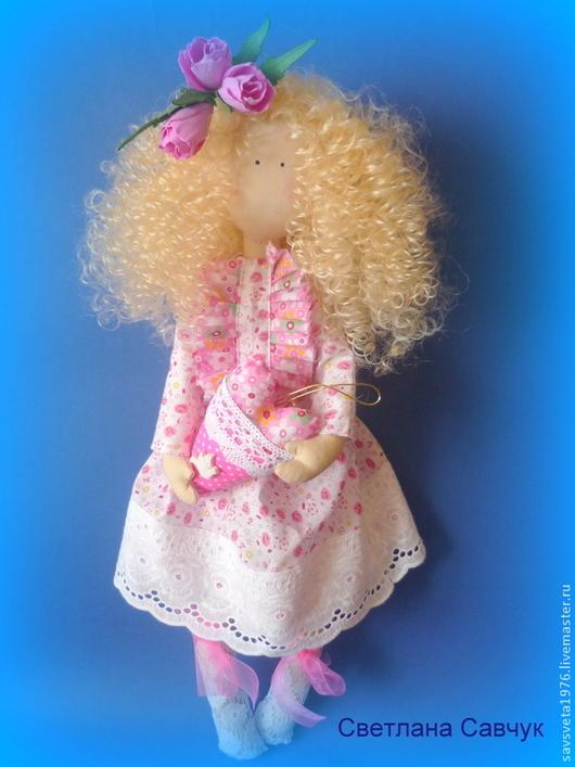 Куклы тыквоголовки ручной работы. Ярмарка Мастеров - ручная работа. Купить Кудряшка Сью. Handmade. Бледно-розовый, хлопок американский