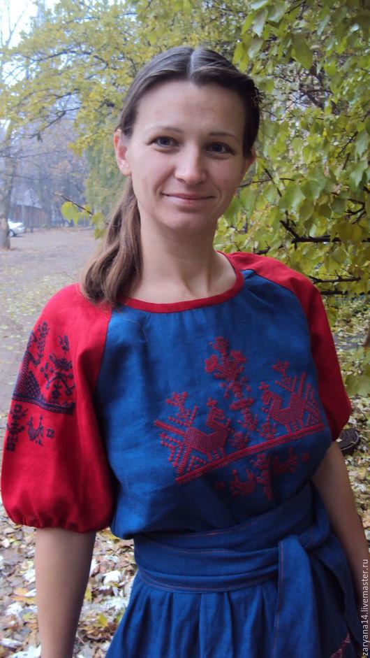 """Блузки ручной работы. Ярмарка Мастеров - ручная работа. Купить блузка сине-красная """"Макошь"""". Handmade. Комбинированный, народная одежда"""