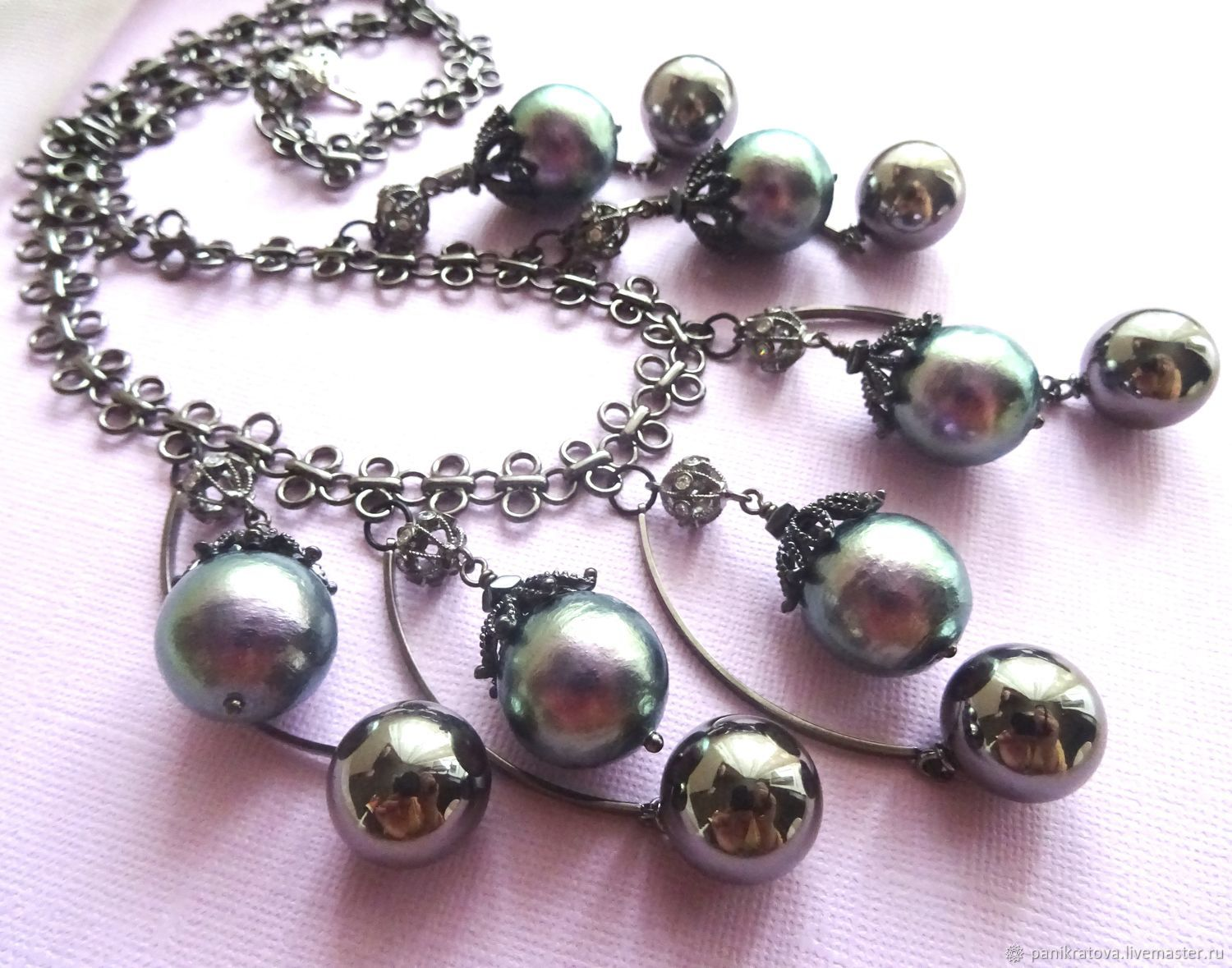 Necklace 'tender is the Night' (Miyuki Cotton Pearl, hematite, accessories LUX), Necklace, Moscow,  Фото №1