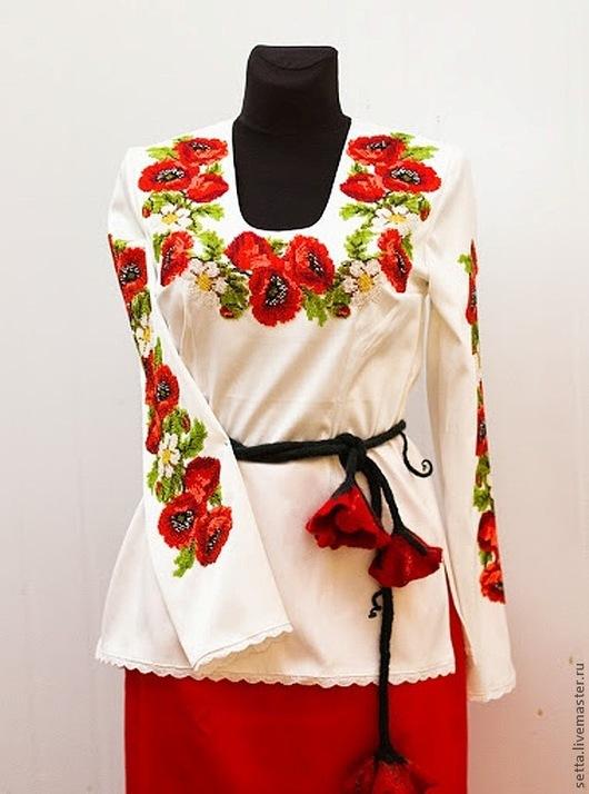 """Шитье ручной работы. Ярмарка Мастеров - ручная работа. Купить Заготовка для Блузы женской """"Маки"""", вышиванка. Handmade. Бисер чешский"""
