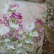 Картины и панно handmade. Livemaster - original item Bright picture of dusty pink with purple white roses buy. Handmade.
