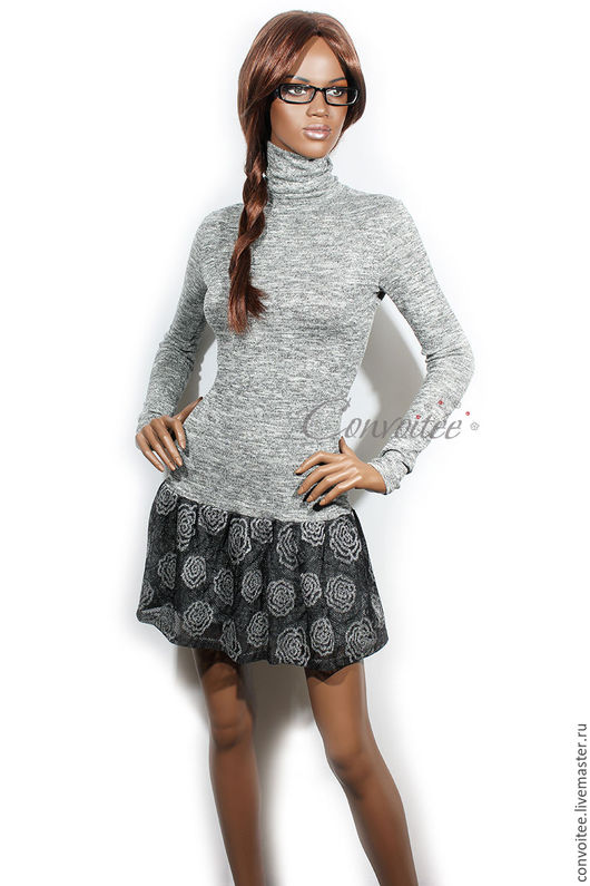 Платья ручной работы. Ярмарка Мастеров - ручная работа. Купить Платье-водолазка с юбочкой-воланом /серый меланж. Handmade. Серый