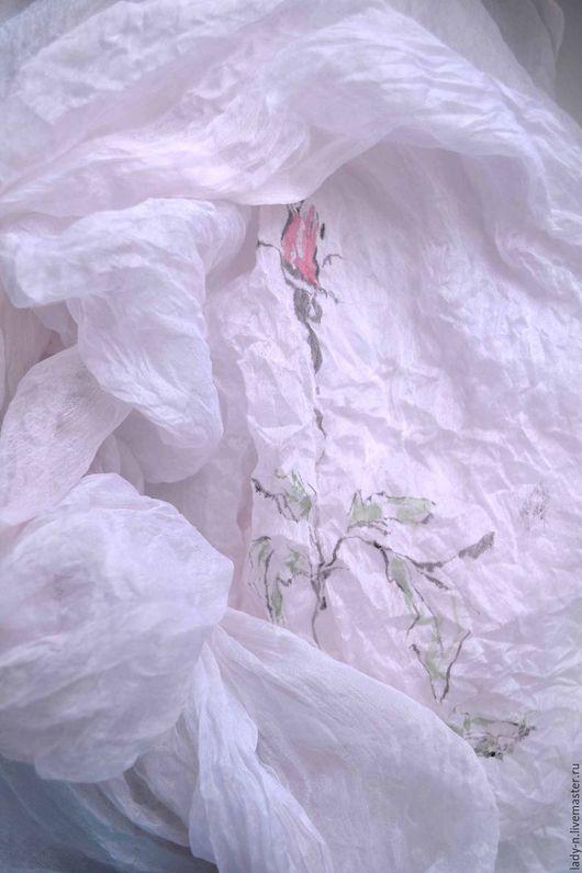 Палантин `Пена дней`, батик, натуральный шелк, недорого