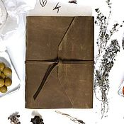 Канцелярские товары handmade. Livemaster - original item Leather notebook with mounting for handles of natural leather. Handmade.