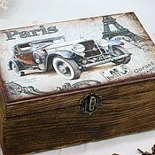Подарки к праздникам handmade. Livemaster - original item Box men`s Retro cars white. Handmade.