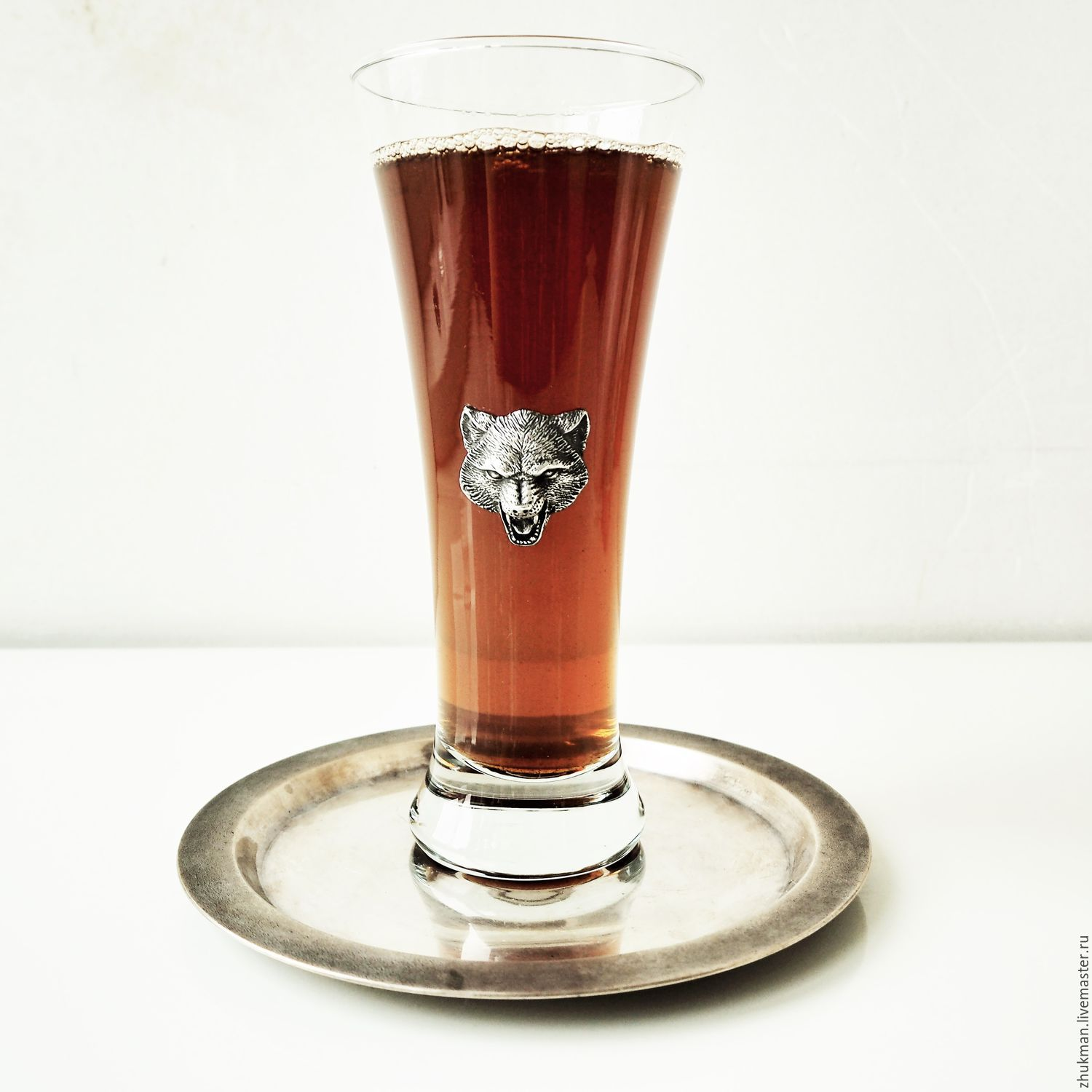 A glass of beer WOLF (a glass of beer 0.25 l). The gift on February 23, Gifts for hunters and fishers, Zhukovsky,  Фото №1