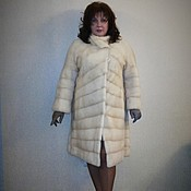 Одежда ручной работы. Ярмарка Мастеров - ручная работа Стильное меховое пальто из норки жемчуг для полной женщины. Handmade.