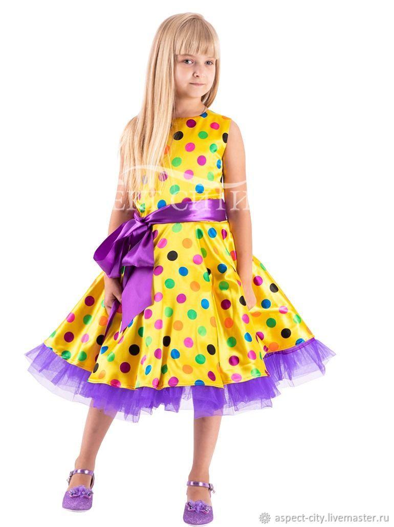 Платье Стиляги №8 (платье, пояс), цвет желтый-разноцвет, Платья, Москва,  Фото №1