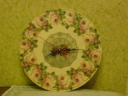 """Часы для дома ручной работы. Ярмарка Мастеров - ручная работа. Купить Часы """"Роза чайная"""". Handmade. Кремовый, Декупаж, декупаж"""