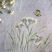 Для дома и интерьера ручной работы. Ярмарка Мастеров - ручная работа Льняной мешочек с росписью....Тысячелистник.... Handmade.