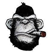 Аппликации ручной работы. Ярмарка Мастеров - ручная работа Юмористическая нашивка обезьяна с сигарой, орангутанг, Кинг Конг. Handmade.