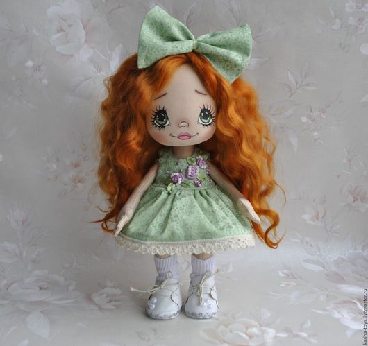 Коллекционные куклы ручной работы. Ярмарка Мастеров - ручная работа. Купить Куколка в зеленом. Handmade. Салатовый, авторская ручная работа