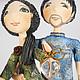 """Коллекционные куклы ручной работы. Заказать Интерьерная композиция """"Пара"""", грунтованный текстиль, статуэтка. 'Волшебная шкатулка' (Надежда). Ярмарка Мастеров."""