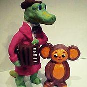Куклы и пупсы ручной работы. Ярмарка Мастеров - ручная работа Гена и Чебурашка 8 и 15 см.из мультика. Handmade.
