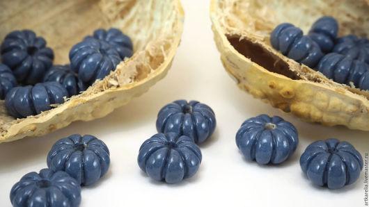 Для украшений ручной работы. Ярмарка Мастеров - ручная работа. Купить Бусины-тыковки из голубой глины,18-21 мм,ручная работа,бусины для бус. Handmade.