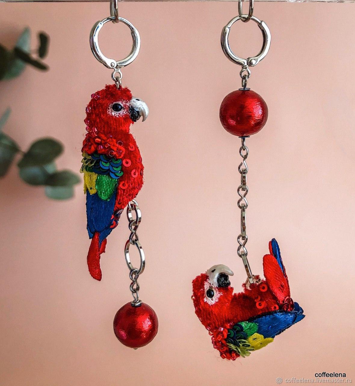 Asymmetric earrings ' macaw Parrots'. Miniature birds, Earrings, Krasnodar,  Фото №1