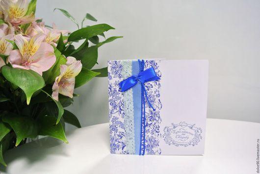 Пригласительные ручной работы. Ярмарка Мастеров - ручная работа. Купить приглашение на свадьбу. Handmade. Синий, картон дизайнерский