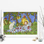 Картины и панно handmade. Livemaster - original item Poster with an angel A quiet evening in the garden A picture for the soul with an angel. Handmade.