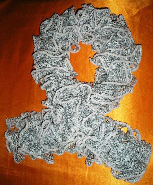 Шарфы и шарфики ручной работы. Ярмарка Мастеров - ручная работа. Купить шарфик декоративный вязаный из фантазийной пряжи. Handmade. Серый