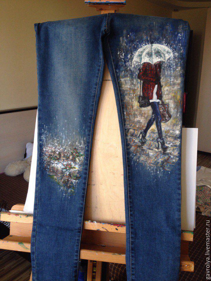 Роспись джинс акриловой краской