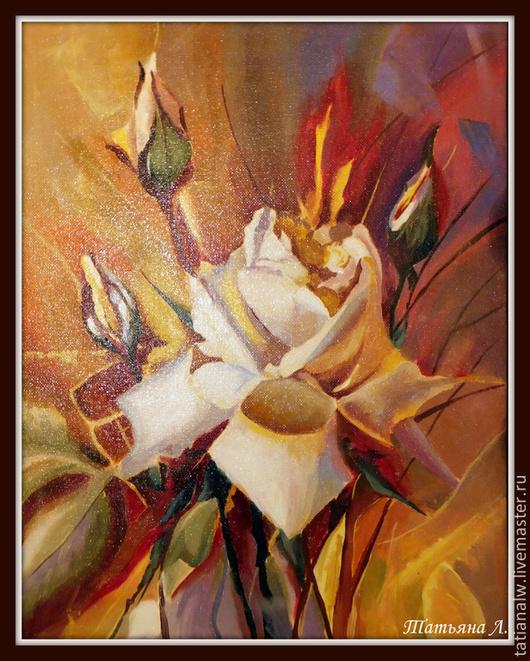 """Картины цветов ручной работы. Ярмарка Мастеров - ручная работа. Купить Картина маслом """"Букет роз"""". Handmade. Коралловый, розовый"""