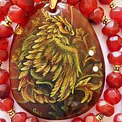 Украшения handmade. Livemaster - original item Jewelry set carnelian stone (pendant paintings) gold Dragonache. Handmade.