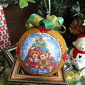 handmade. Livemaster - original item teddy Bear Christmas ball under the Christmas tree (collectible). Handmade.
